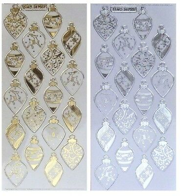 CHRISTMAS BAUBLES Embossed Peel Off Stickers Gold Silver Clear Sticker Reindeer