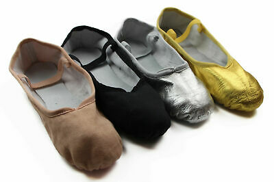 Leather Ballet Girls Womens Dance Shoes Kids Slippers Flats - Silver Pink Black
