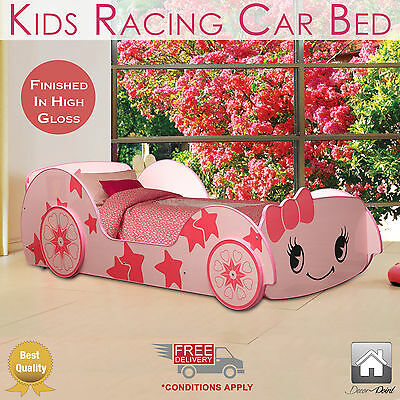 New Kids Racing Car Bed Single Size, Pink Color, Children Bedroom Furniture