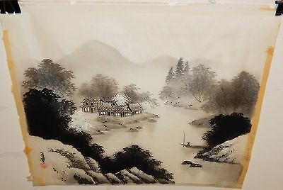 Old Japanese River Village Watercolor On Silk Painting Signed