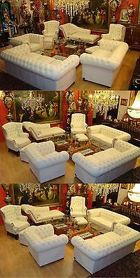 Chesterfield ROYAL CLARIDGE  Garnitur in Ivory Set 3+2+1+1+1 Plus Hocker 8 Teile