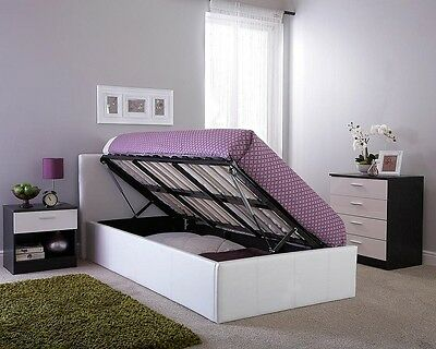 Side Lift Ottoman Storage Bed 3FT, 4FT, 4FT6, 5FT In Various Colours Gas Lift