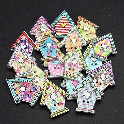 80 15mm WOODEN BUTTONS - MIXED COLOURS - CRAFT - SCRAPBOOK - SEWING - CARDS
