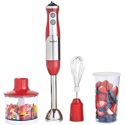 VonShef Hand Blender Food Mixer 800W Red Processor 3 in 1 Whisk Egg Beater