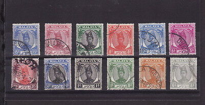 TRENGGANU 1949/ 55 SULTAN ISMAIL MALAYA Lot of 12 STAMPS DIFFERENT VALUES to 50c