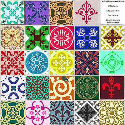Various 24 Pack Traditional Tile Sticker Decal Kitchen Bathroom Self Adhesive