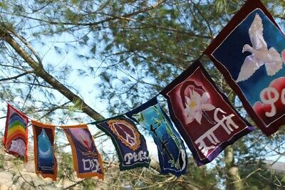 World Peace Prayer Flag banner Diversity Rainbow Garden Bali Batik Balinese Art