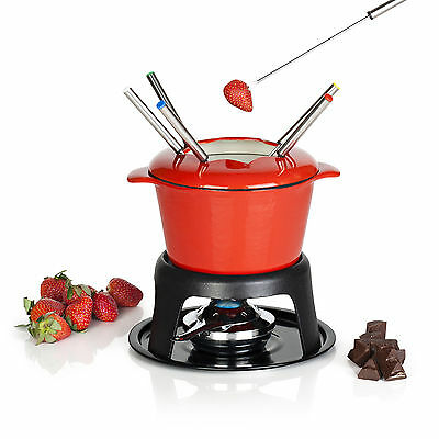 VonShef Cast Iron Fondue Chocolate, Cheese & Meat Party Dipping Set - 6 Forks