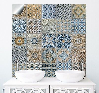 """24 Pack Moroccan Tile Sticker Traditional Transfers Decal Kitchen Bathroom 6"""""""