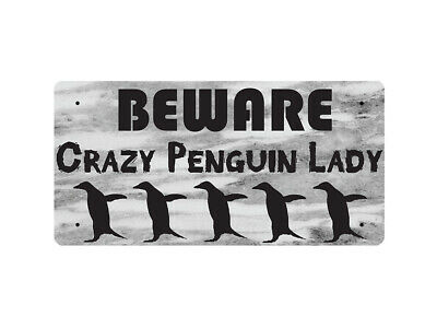 WP_ANI_001 BEWARE Crazy Penguin Lady - Metal Wall Plate