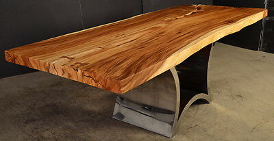 "96"" Long dining table live edge 1 slab acacia wood cool steel base freeform"