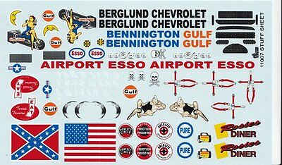 FENDER SPONSOR LOGOS NASCAR BERGLUND CHEVROLET 1/25th 1/24th Scale Decals
