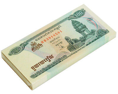 Cambodia 100 Riels 1995 P 41 Unc Bundle Of (100 Notes)