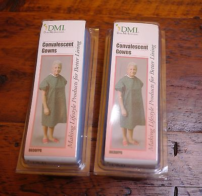 Pair of NEW NIB DMI Light Blue Adult Convalescent Hospital Gowns XL 8030FPG