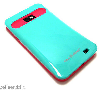 Straight Talk Samsung Galaxy S2 SGH-S959G Cell-Nerds Duo Case Green & Pink