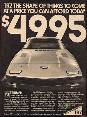1977 Triumph TR7 Original Print Black & White Ad - The Shape of Things to Come