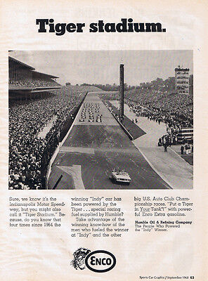 1968 Enco Gas Original B & W Ad - Ford Torino Convertible Indy 500 Pace Car