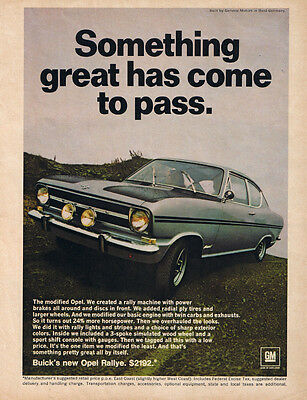 1967 Opel Rallye Original Print Color Ad - Something Great Has Come to Pass
