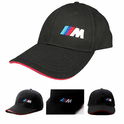 Black Sport Embroidered BaseBall Cap Red/ Piping Golf Hat For BMW M Logo