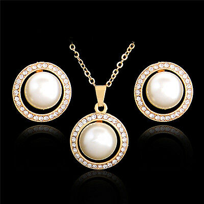 18K Gold Plated Round Pearl Charm Clavicle Necklace/Earrings Set High Quality