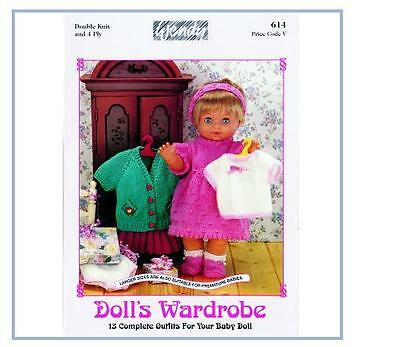 Wendy Knitting Patterns For Dolls : Doll Premature Baby Knitting Pattern Book 4Ply Dk (620 ...