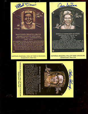 Seventy Autographed Yellow Hall of Fame Plaques (70) JSA LOA