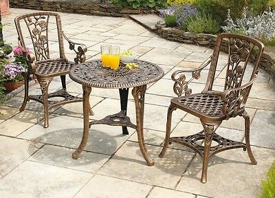3 Piece Bistro Set Garden Lawn Patio Antique Outdoor Furniture Chairs and Table