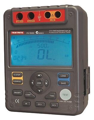 Testrite HV-5000 5kV Digital Insulation Tester with Software & USB