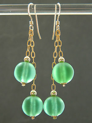 Vintage Art Deco Frosted Green Uranium Glass Beads & Rolled Gold Chain Earrings