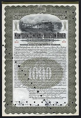 1909 The New York Central and Hudson River Railroad Company - $1000 Gold Bond