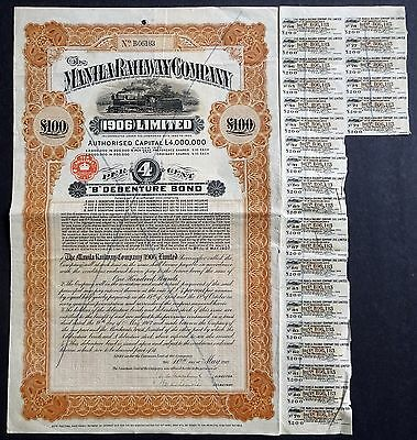 1907 The Manila Railway Company (1906) Limited - £100 Bond