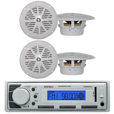 "Marine Boat In Dash MP3 AUX USB iPod Stereo Player & 4 X 4"" Inch Marine Speakers"