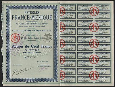 "1926 French-Mexican Oil Company: ""Petroles France-Mexique"""