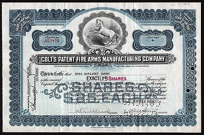 1938 Colt's Patent Fire Arms Manufacturing Company - signed Samuel M. Stone