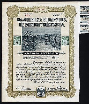 1912 Mexican Agriculture Company: Tabasco y Chiapas - uncancelled with coupons