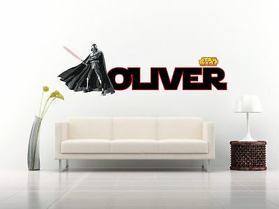 STAR WARS DARTH VADER PERSONALISED WALL STICKER childs bedroom decal art 3 size