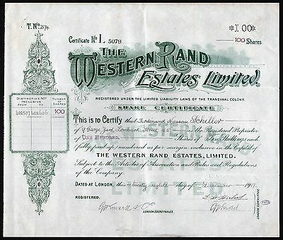 1917 London: The Western Rand Estates Limited - Transvaal Colony, South Africa