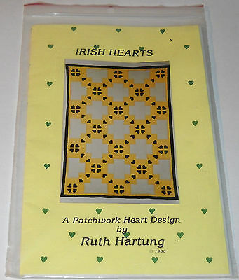 Irish Hearts Quilt Pattern A Patchwork Heart Design by Ruth Hartung 1986