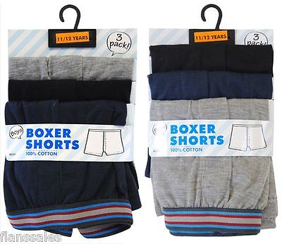 Boys 3 Pairs pack quality cotton soft fine ribbed top boxer shorts .