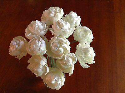 "Vintage Millinery Flower Rose Bud 12p Bunch 7/8""ea White for Hat + Hair Crown UC"