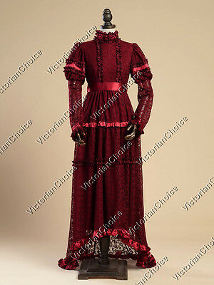 Edwardian Victorian Lace Overlay Gown Reenactment Steampunk Theater Wear N 353