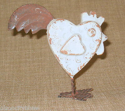 NEW~Adorable Heart-Shaped Pottery Chicken~Rusty Tin Tail Feathers & Wire Feet