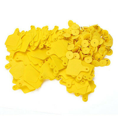 100Pcs Yellow Cow Cattle Blank Large Livestock Ear Tag