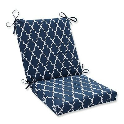 Pillow Perfect 593524 Garden Gate Navy Squared Corners Chair Cushion