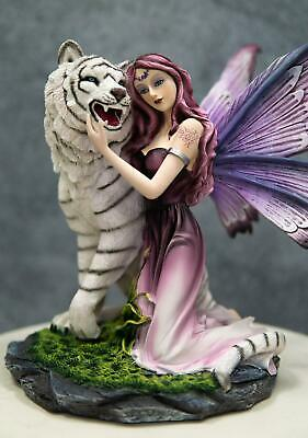 "Beautiful Kneeling Fairy With White Tiger Large 13.5"" Height Fantasy Figurine"