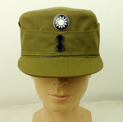 WWII Chinese PLA Army Officer Cap Hat & Badge Size L-D915