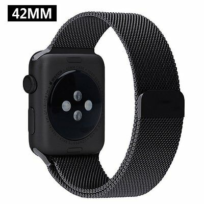 Accessories Strap 42mm Magnetic Band Stainless Steel For Apple Watch Sport Black
