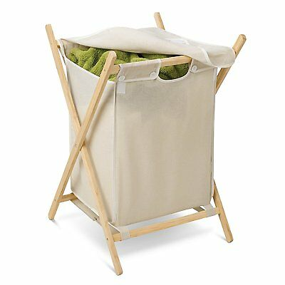 Honey Can Do HMP-01365 Wooden Folding Hamper, Natural