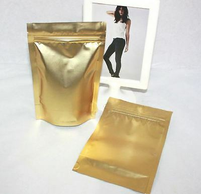 100 pcs of Gold Aluminum Foil Zip Lock Stand up Pouch Packing Bag - Large Size