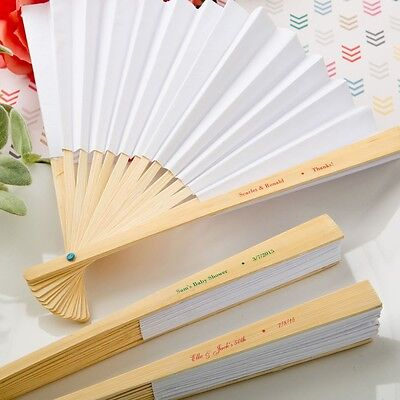 100 Personalized White Paper Folding Fans Wedding Shower Party Gift Favors